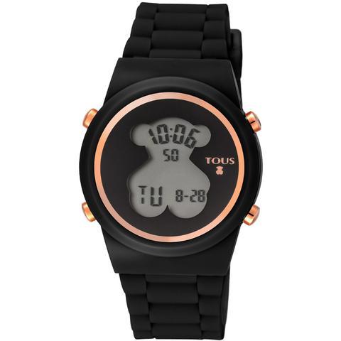 Reloj Digital D-bear De Acero Ip Rosado Con Correa De Silicona Negra de Tous en 21 Buttons