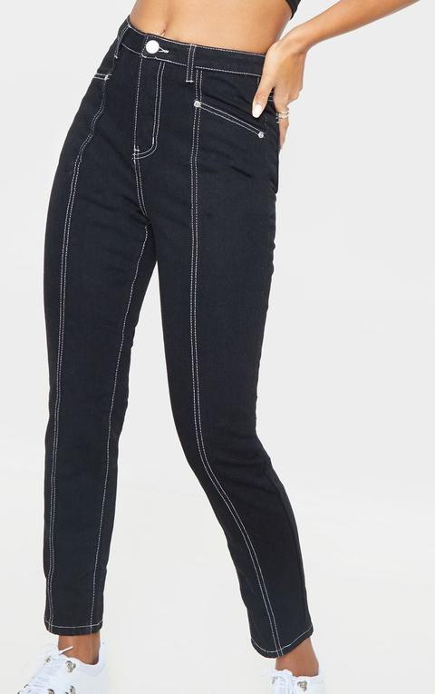 Jean Droit Noir À Coutures Devant, Noir