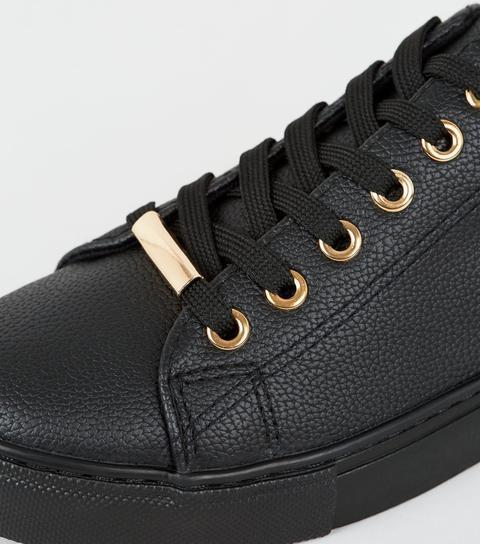 Black Leather-look Metal Trim Trainers