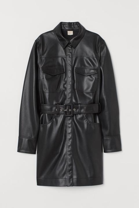 Vestido Camisero Con Cinturón - Negro de H&M en 21 Buttons