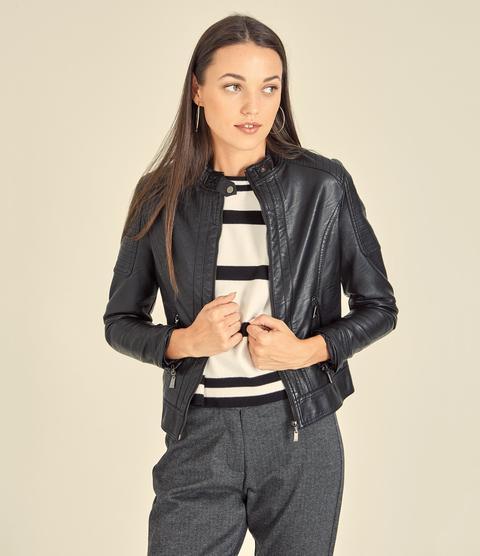 giacca in pelle nera zuiki