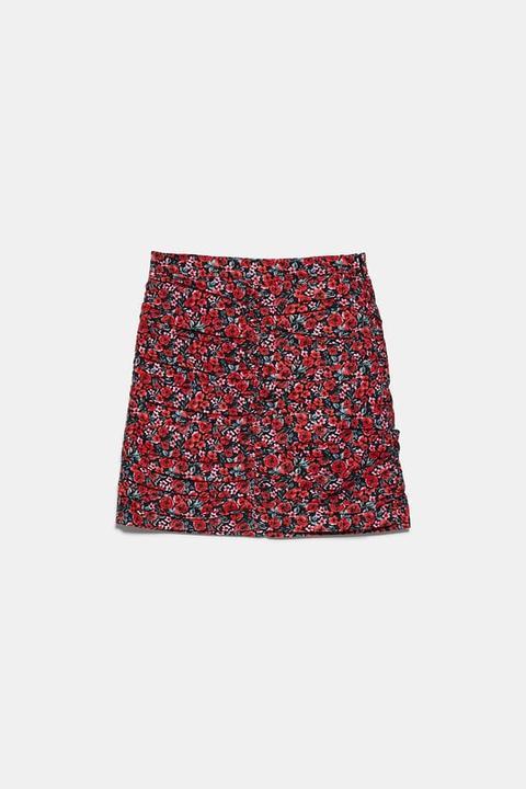 Falda Mini Drapeada Estampada