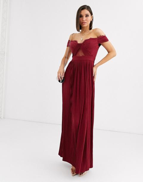 Vestido Largo Con Escote Bardot Y Pliegues En Encaje De Asos Design Premium-rojo de ASOS en 21 Buttons