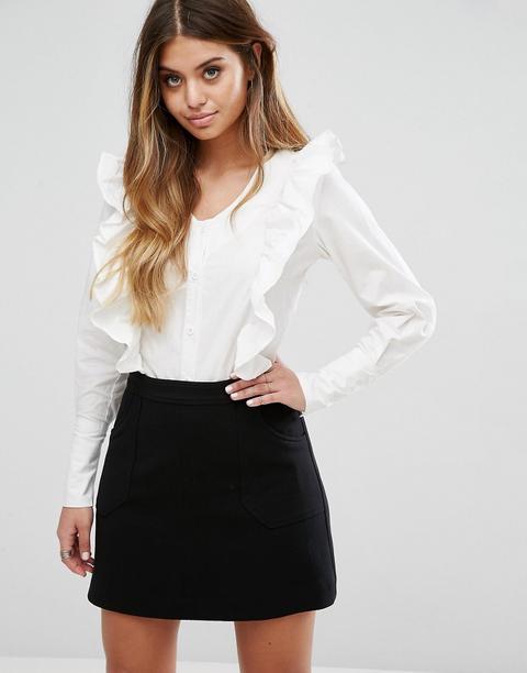 Boohoo - Camicia In Cotone Con Scollo A V E Volant - Bianco