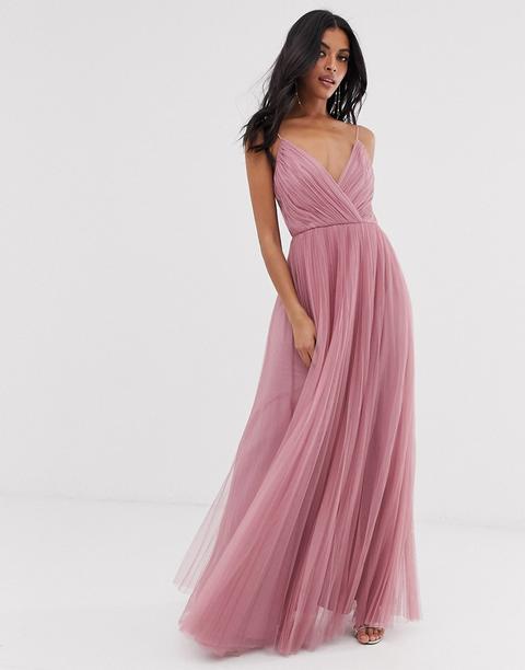 Vestido Largo De Tul Con Plisado Y Tirantes De Asos Design-rosa