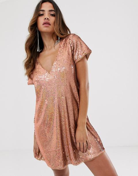 Vestido Recto De Lentejuelas En Dorado Rosa De Tfnc de ASOS en 21 Buttons