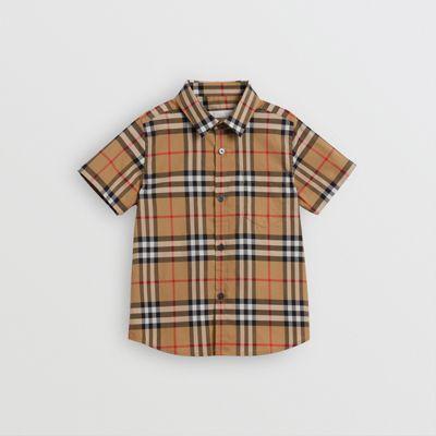 Camisa De Manga Corta En Algodón A Cuadros Vintage Checks (amarillo Envejecido) | Burberry de BURBERRY en 21 Buttons