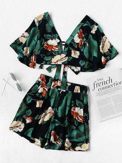 Conjunto De Top Y Shorts De Flores