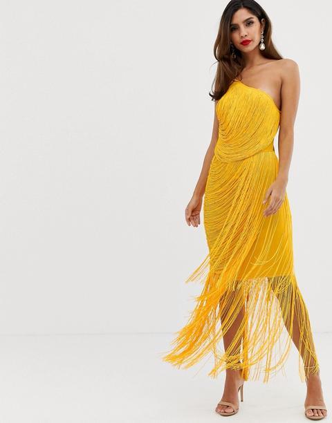 Vestido Largo Asimétrico Con Flecos Drapeados En Toda La Prenda De Asos Design-amarillo
