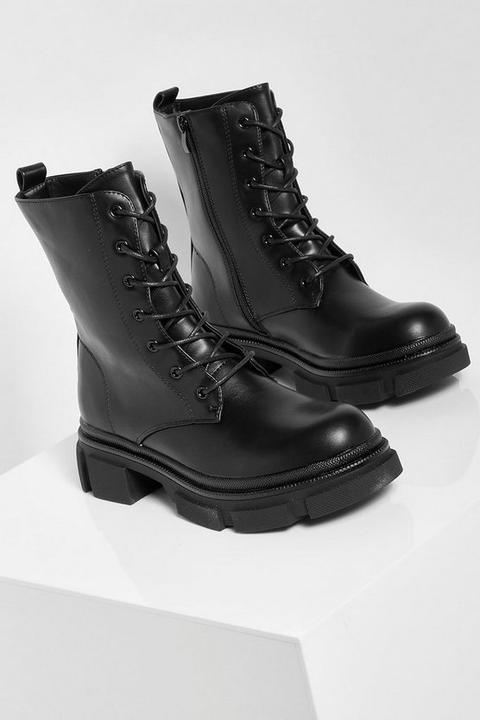 Chunky Sole Lace Up Hiker Boots - Noir - 36, Noir