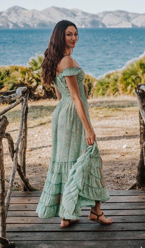 Verde Claro Boho Seda Largo Maxi Vestido De Verano, Vestido Largo Romántico Para Las Mujeres, Vestido Boho, Fuera Del Hombro, Vestido De Thailand