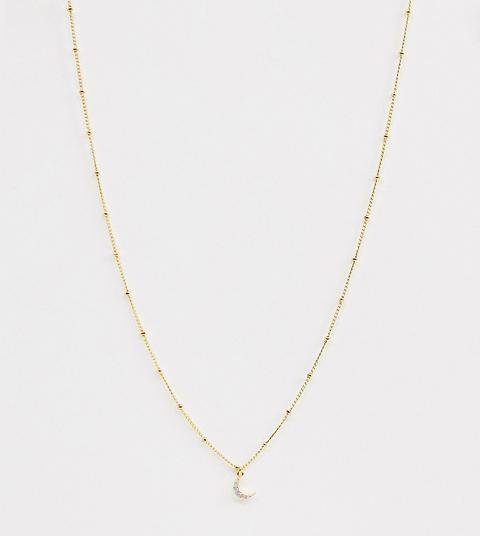 Collar Con Colgante De Luna Chapado En Oro De 18 Quilates Y Cadena Satellite De Astrid & Miyu-dorado