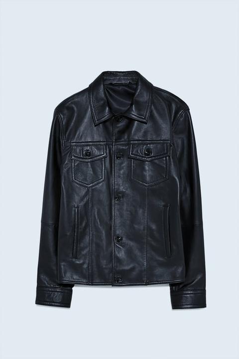 Cazadora Piel Bolsillos de Zara en 21 Buttons