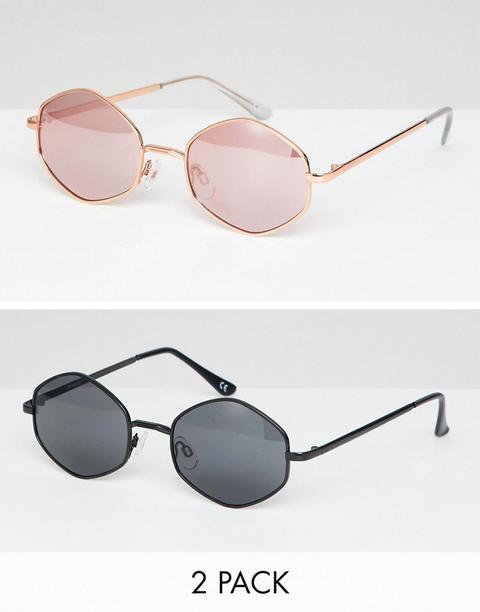 Pack De 2 Gafas De Sol Hexagonales De Asos Design-multicolor