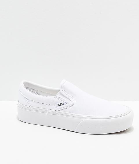 Vans Slip-on True White Platform Shoes