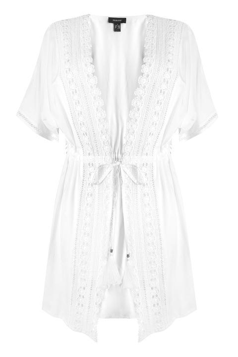 Cárdigan Estilo Kimono De Encaje Blanco