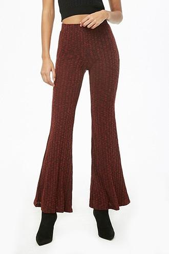 Forever 21 Marled Flare Pants Black/burgundy