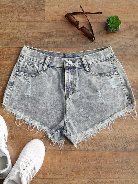 informazioni per 43362 9eec2 Pantaloncini Di Jeans Con Orlo Strappato Lavati Con Lavaggio Candeggina  Bleached Color from Zaful on 21 Buttons