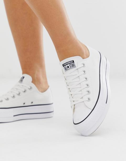 Zapatillas Con Plataforma En Blanco Chuck Taylor Ox De Converse