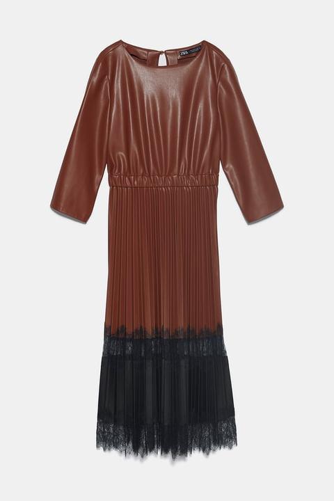 Vestido Efecto Piel Combinado
