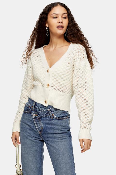 Womens Ivory Honeycomb Cardigan - Ivory, Ivory