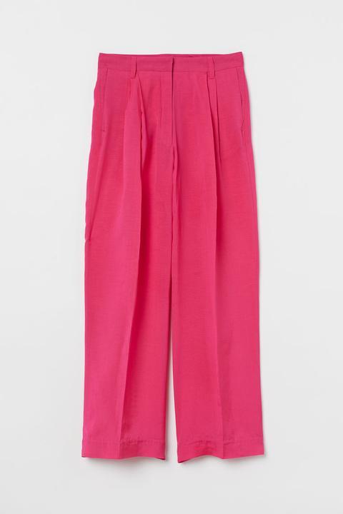 Pantalón Amplio Mezcla De Lino - Rosa de H&M en 21 Buttons