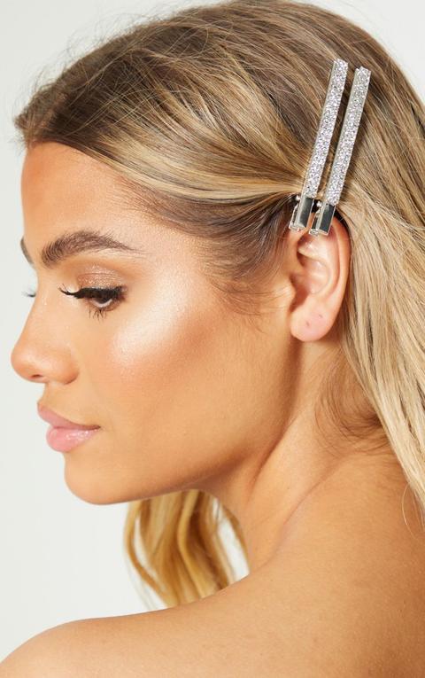 Silver Large Diamante Hair Clips