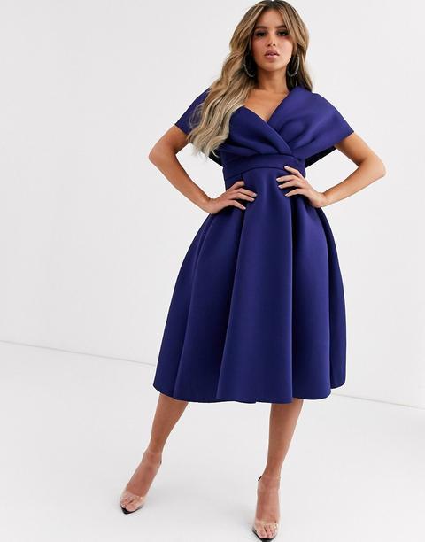 Asos Design Robe De Bal De Promo Mi Longue A Epaules Tombantes Avec Ceinture A Nouer Bleu Marine From Asos On 21 Buttons