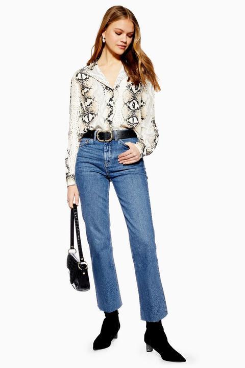 Mid Stone Raw Hem Straight Jeans de Topshop en 21 Buttons