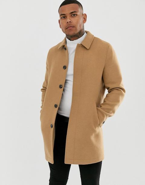 Asos Design Wool Mix Overcoat In Camel-tan