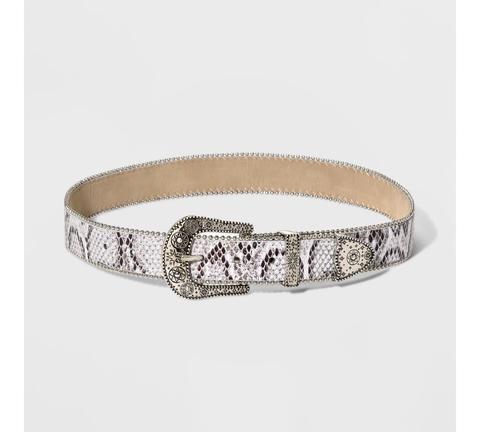 Women's Snake Buckle Loop Tip Set Belt - Wild Fable™ Silver