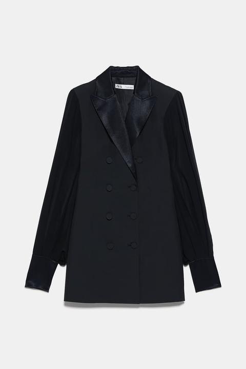 Vestido Blazer Mangas Combinadas de Zara en 21 Buttons