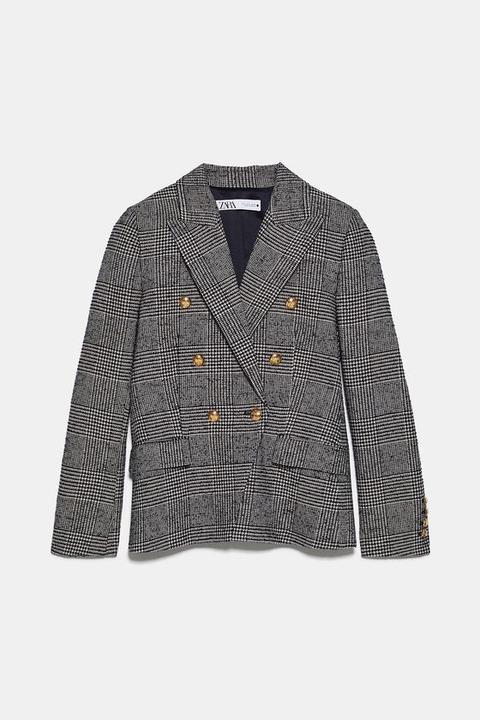 Blazer Cruzada Cuadros de Zara en 21 Buttons