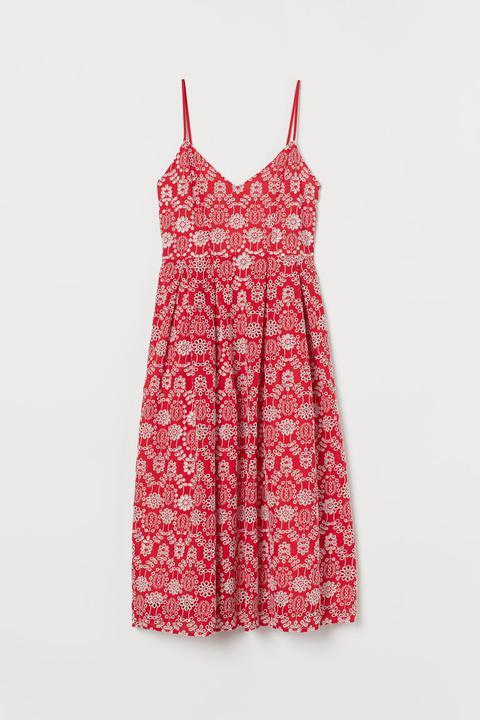 Vestido En Bordado Inglés - Rojo de H&M en 21 Buttons