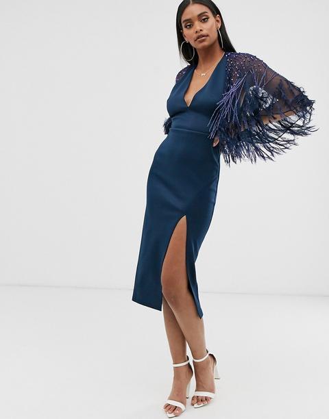 Vestido Midi De Cuero Sintético Con Capa De Asos Design-azul Marino