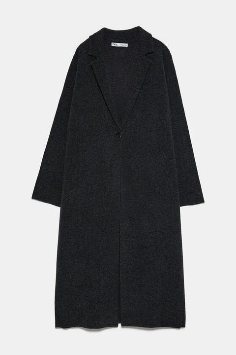 Abrigo Largo Con Lana de Zara en 21 Buttons