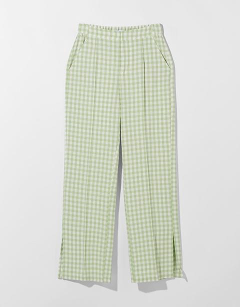 Pantalón Vichy Straight Con Lino