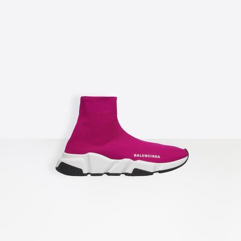 Sneaker Speed En Maille Rose, Semelle Blanche Et Noire