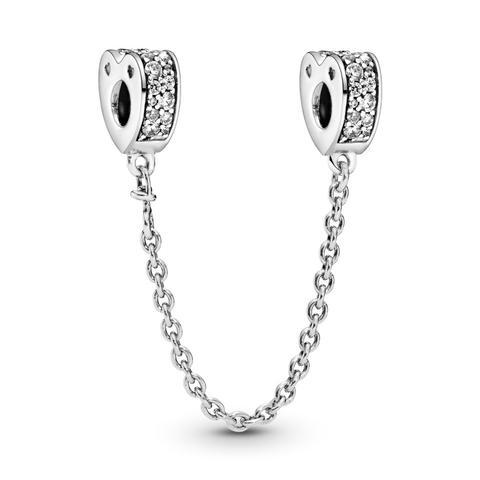Cadena De Seguridad En Plata De Ley Arco De Amor Brillante de Pandora en 21 Buttons