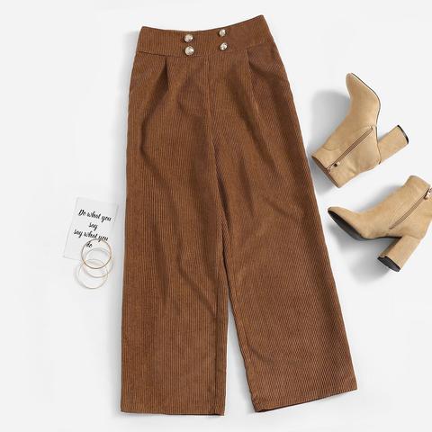 Pantalones Anchos De Pana Con Botones de SheIn en 21 Buttons