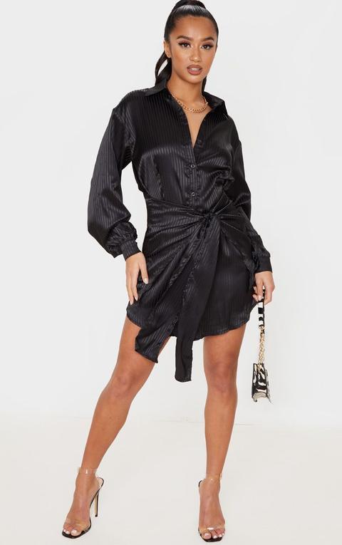 Petite Black Satin Striped Tie Waist Shirt Dress
