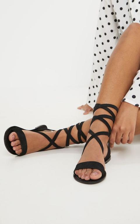 Black Basic Leather Sandal
