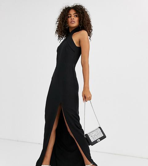 Vestido Largo En Negro Con Cuello Subido Y Abertura En El Muslo De Vesper Tall
