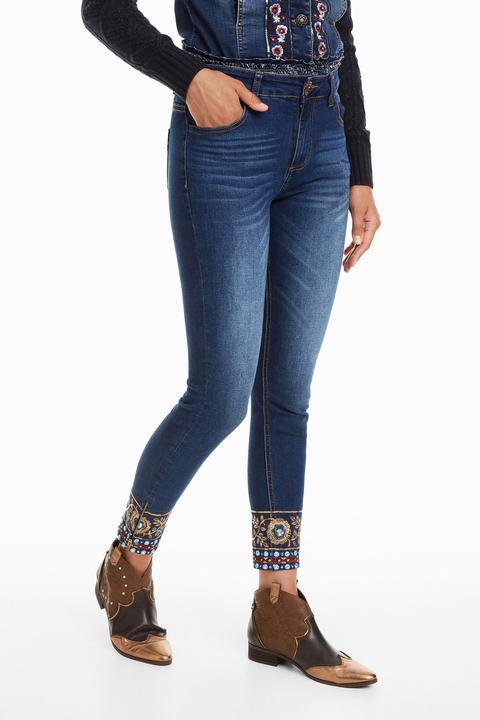 Pantalón Vaquero Skinny Bordado Floral de Desigual en 21 Buttons