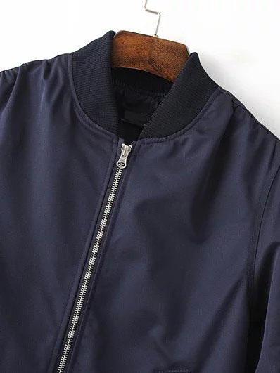 on Jacke from 21 Buttons Romwe Taschen Mit Marineblau Reißverschluss CeoQWBrdx