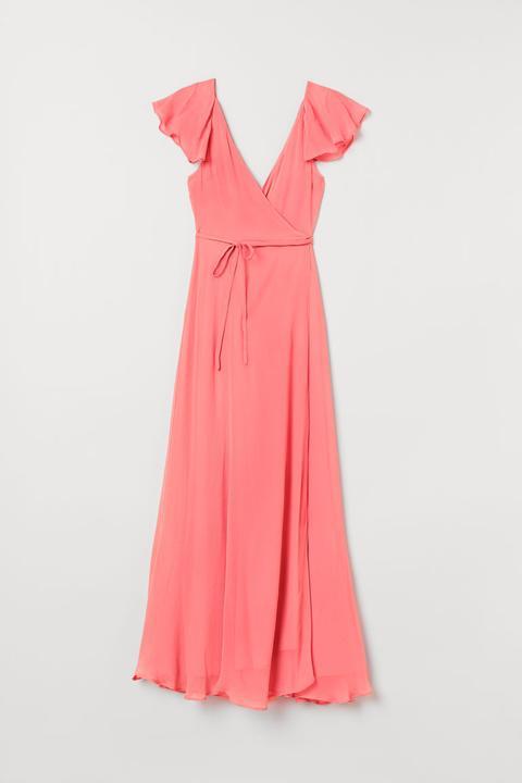 Vestido Cruzado Largo - Rojo de H&M en 21 Buttons