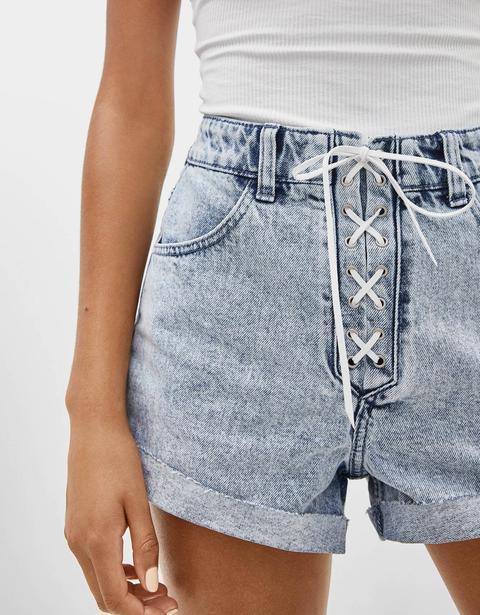 Jeans-shorts Mit Schleife