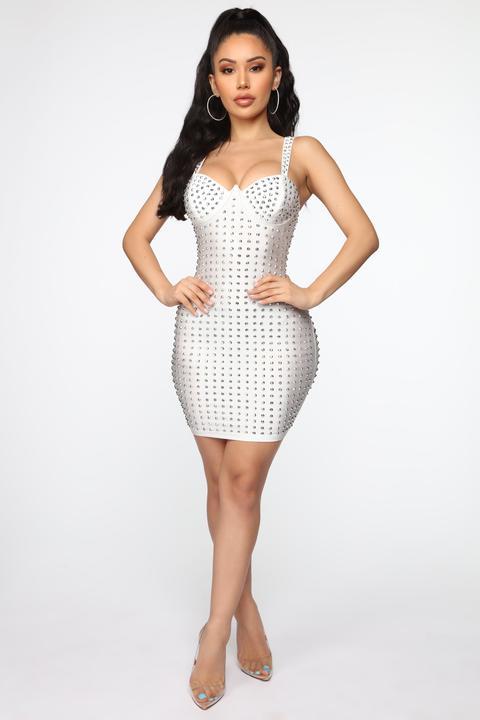 Wanting Attention Studded Mini Dress - White