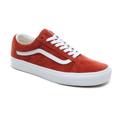 Vans Pig Suede Old Skool Shoes ((pig Suede) Burnt Bricktrue White) Women Red from Vans on 21 Buttons