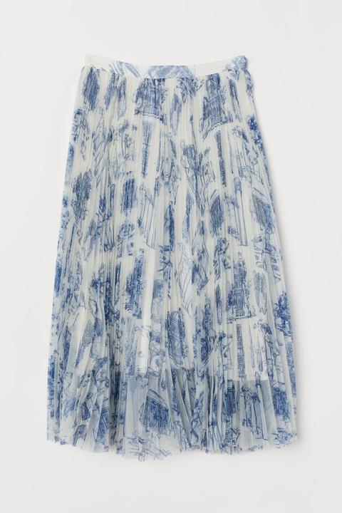 Falda Plisada - Blanco de H&M en 21 Buttons